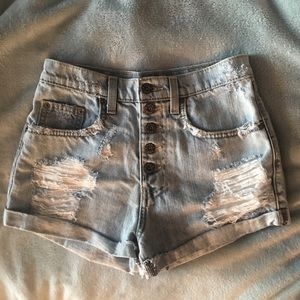 Ripped high waisted jean shorts